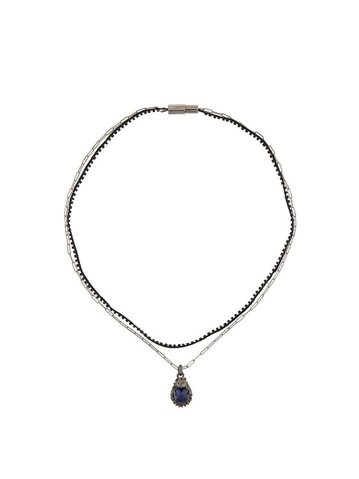 Lanvin Double Chain Hedgehog Necklace, Metallic