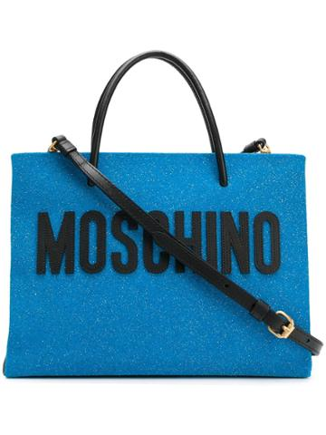 Moschino Medium Glitter Shopping Bag - Blue