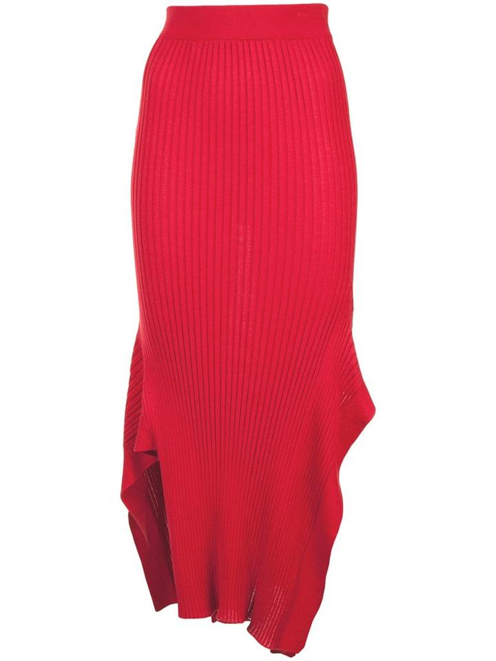 Stella Mccartney Rib Knit Asymmetric Maxi Skirt - Red