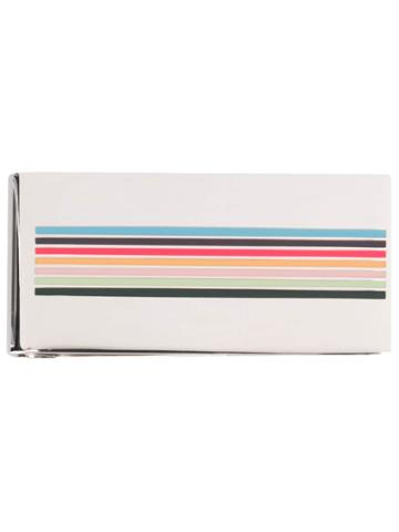 Paul Smith Striped Enamel Tie Clip - Silver