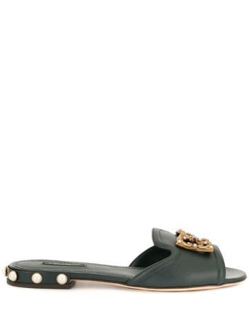 Dolce & Gabbana Flat Embellished Slides - Green