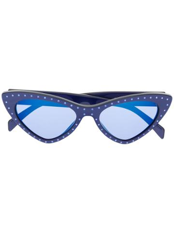 Moschino Eyewear Embellished Cat Eye Sunglasses - Blue