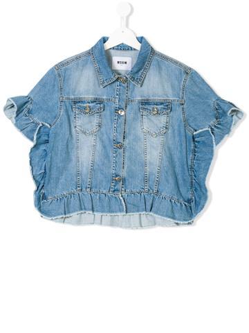 Msgm Kids Teen Frilled Sleeve Denim Jacket - Blue