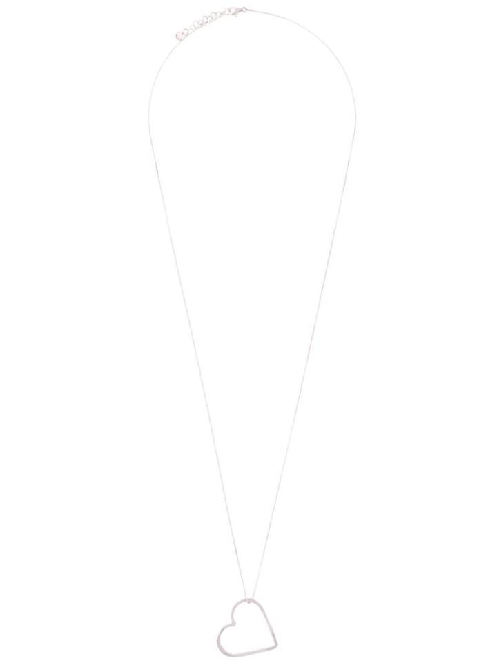 Seeme Medium Heart Long Necklace, Women's, Metallic, Silver