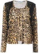 Blumarine Leopard Print Cardigan - Brown