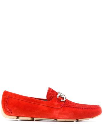 Salvatore Ferragamo Gancini Bit Driver Loafers - Red