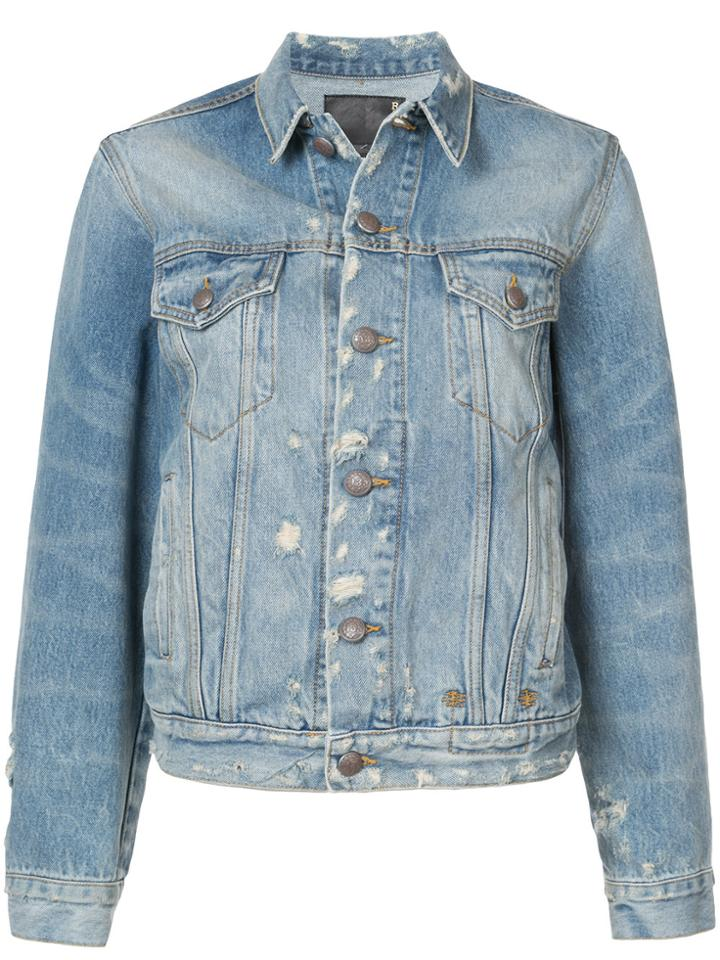 R13 Distressed Denim Jacket - Blue