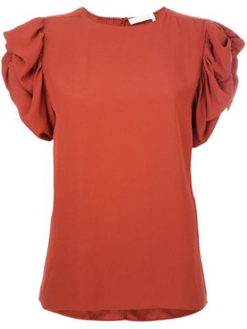 Chloé - Ruffled Sleeve Blouse - Women - Viscose/acetate/silk - 38, Yellow/orange, Viscose/acetate/silk