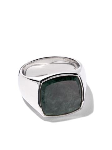 Tom Wood Cushion Green Marble Ring - Silver