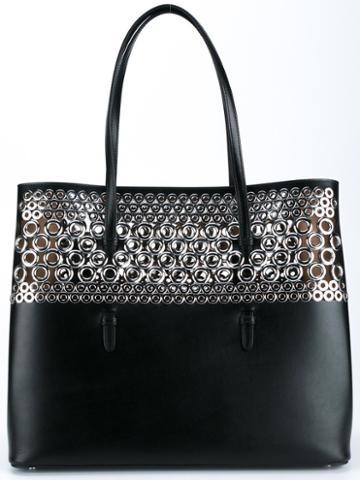 Alaïa Eyelet Embellished Tote, Women's, Black, Leather/metal