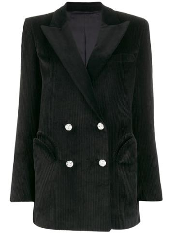 Blazé Milano Double Breasted Corduroy Blazer - Black