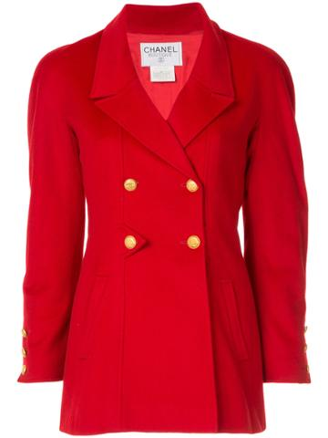 Chanel Vintage Cashmere Double-breasted Jacket - Red