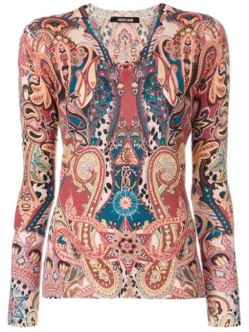 Roberto Cavalli - Printed Knit Top - Women - Silk/cashmere/wool - 48, Silk/cashmere/wool