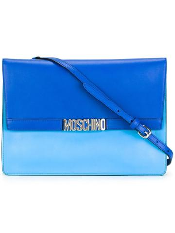Moschino Letters Shoulder Bag, Women's, Blue, Leather