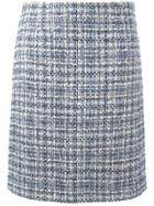 Lanvin Tweed Checked Skirt - Blue