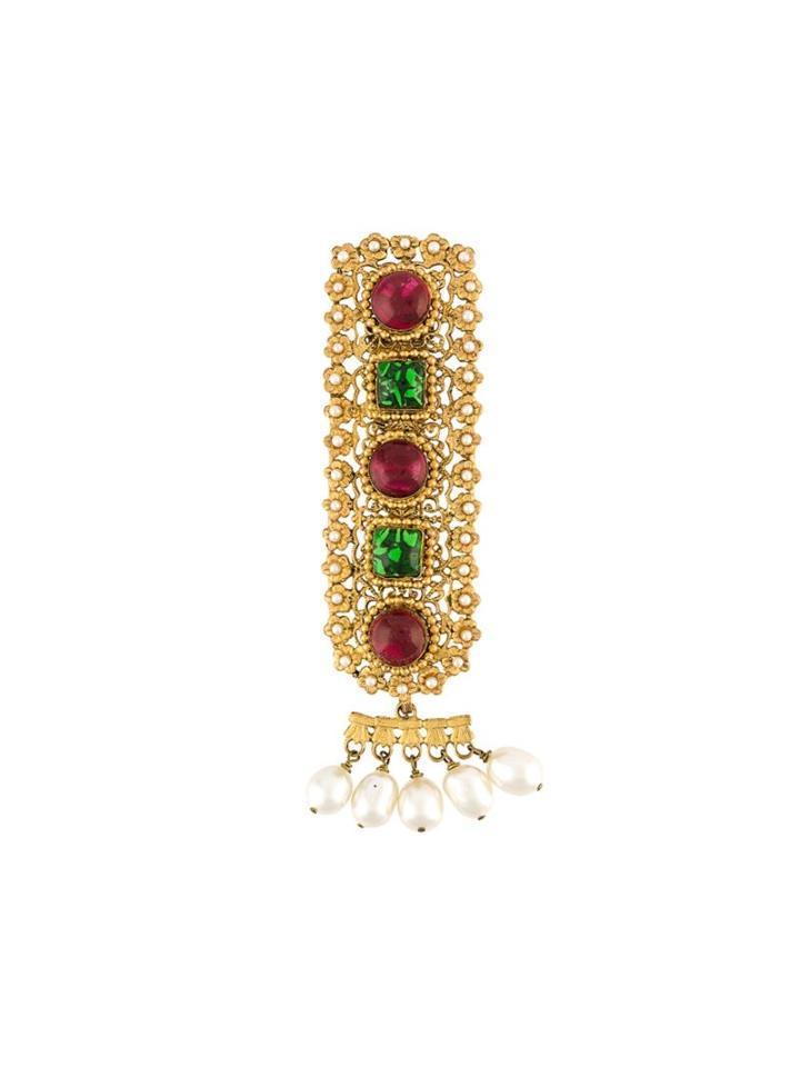 Chanel Vintage Gripoix Brooch, Women's, Green