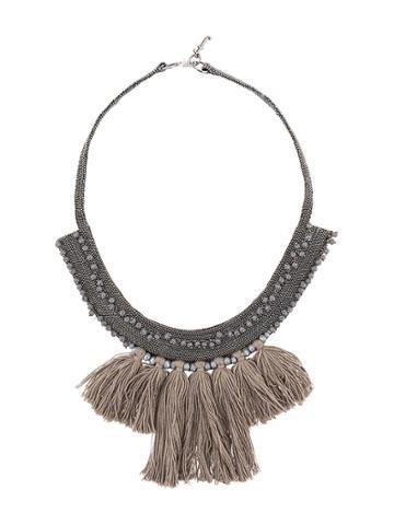 Fabiana Filippi Fringe Bib Necklace - Silver