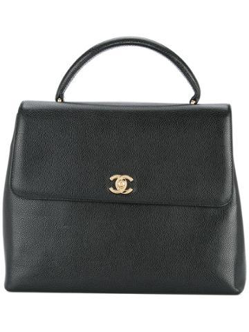 Chanel Vintage Cc Logo Tote Bag - Black