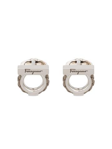 Salvatore Ferragamo Leather Detail Cufflinks - Silver