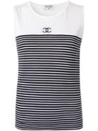 Chanel Pre-owned Striped Tank Top - White