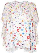G.v.g.v. Floral Print Chiffon Ruffled Blouse - White