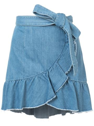Paige Ruffled Wrap Denim Skirt - Blue