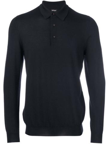 Kiton - Knitted Polo Shirt - Men - Silk/cashmere - M, Blue, Silk/cashmere