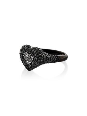 Shay 18k Black Gold Diamond Heart Ring - Metallic