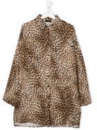 Monnalisa Leopard-print Long-sleeve Shirt - Brown
