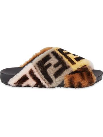 Fendi Strapped Flat Sandals - Brown