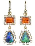 Irene Neuwirth Diamond Tear Drop Earrings - Green