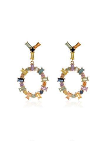 Ileana Makri 18k Yellow Gold Rainbow Sapphire Drop Hoop Earrings -