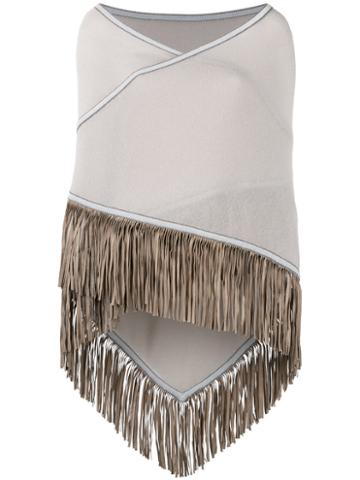 Antonia Zander Fringed Trim Cape, Women's, Nude/neutrals, Cashmere/leather