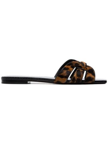 Saint Laurent Nu Pied Leopard Print Slides - Black