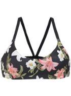 Track & Field Printed Swim Bikini Top - Black