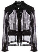Ann Demeulemeester Diagonal Button Fastening Sheer Shirt