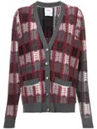 Barrie Checked Oversized Cardigan - Red