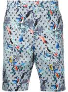 Loveless - Patterned Shorts - Men - Cotton/polyurethane - 1, Blue, Cotton/polyurethane