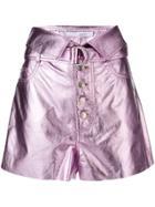 Iro Lush Lurex Shorts - Pink