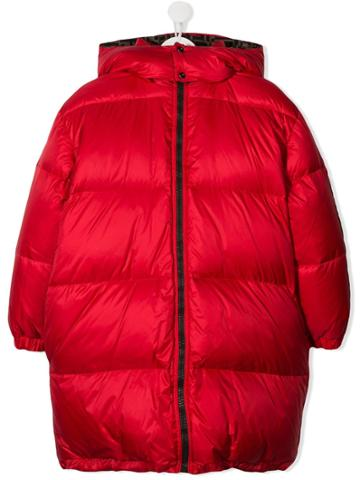 Fendi Kids Padded Hooded Coat - Red