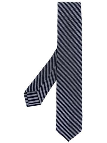 Barba Diagonal Stripes Tie - Grey