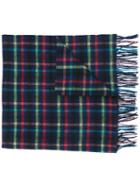 Paul Smith Checked Scarf, Women's, Blue, Cashmere/lambs Wool