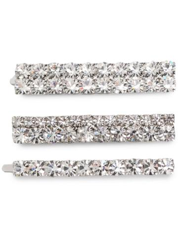 Alessandra Rich Embellished Hair Clips - Silver
