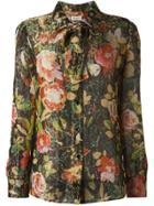 Saint Laurent Ribbon Accent Crepe Shirt - Multicolour