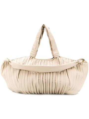 Max Mara Large Pleated Nappa Shopper - Neutrals