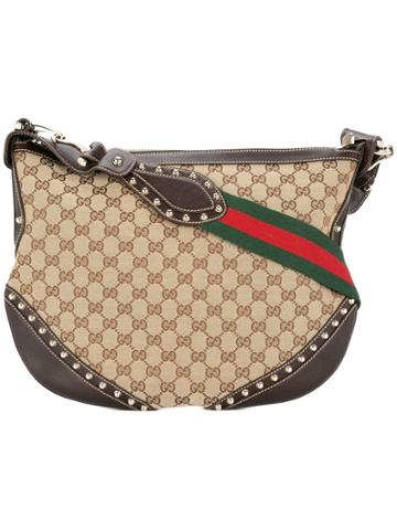 Gucci Vintage Gucci Gg Pattern Shoulder Bag - Brown