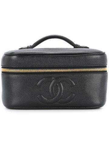 Chanel Vintage Caviar Cc Stitch Vanity - Black