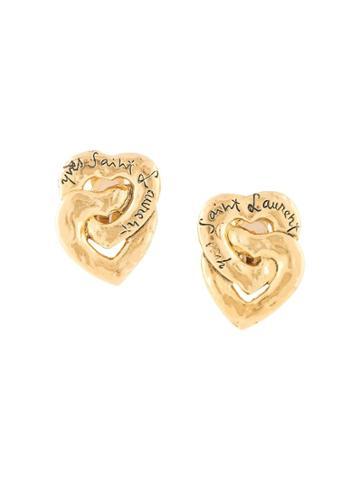Yves Saint Laurent Pre-owned Logo Heart Earrings - Gold