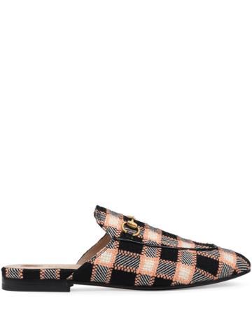 Gucci Princetown Tweed Slippers - Black