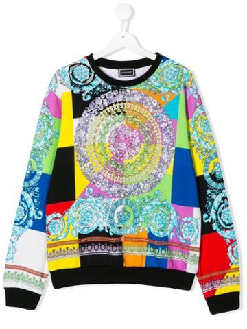 Young Versace Teen Patchwork Print Sweatshirt - Blue